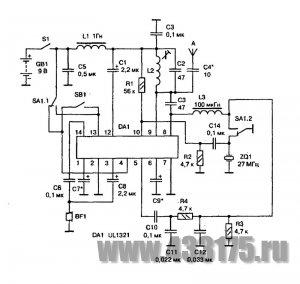 Схема радиостанции на одной микросхеме.  После переключения SA1 в другое положение радиостанция переходит в режим...