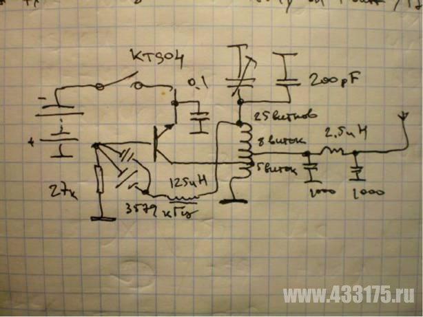 Схема однотранзисторного